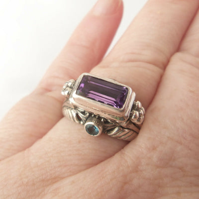 Sz 8 Amethyst, Blue Topaz 925 Solid Sterling Silver Ring for Renaissance Costume