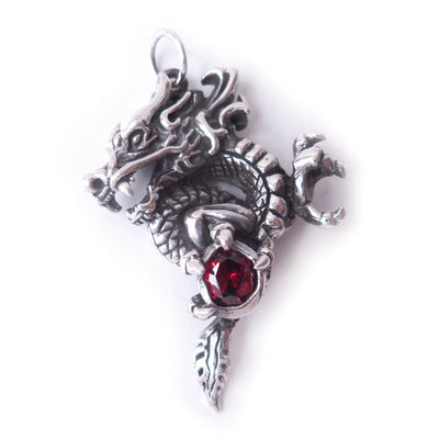 Garnet Dragon Amulet .925 Solid Sterling Silver Gothic Pendant Fantasy Charm