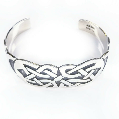 Celtic Knot Cuff Solid 925 Sterling Silver Mens Bracelet