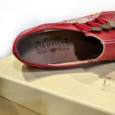 L'Artiste Red Leather Slip On Shoes Agacia Size 35, 36, 37, 38, 39, 40, 41