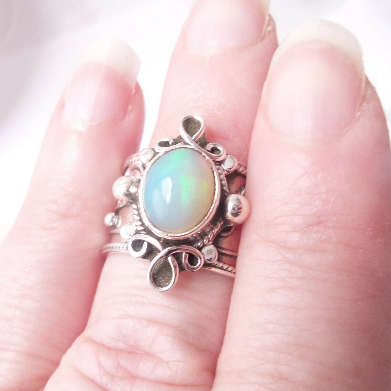 Opal .925 Solid Sterling Silver Cocktail Ring Size 9.75 Boho Chic Jewelry Gift