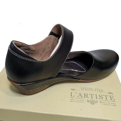 L'Artiste Black Leather Mary Jane Comfort Shoes Gloss Sz 36 37 38 39 40 41 42