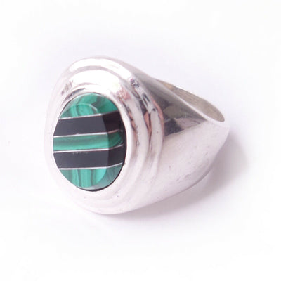 13.5 Onyx & Malachite .925 Solid Sterling Silver Mens Ring w/ Natural Gemstones