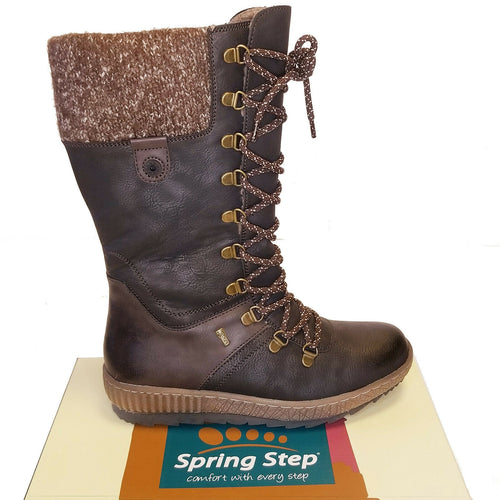 Spring Step Dark Brown Tall Boots Faux Vegan Leather