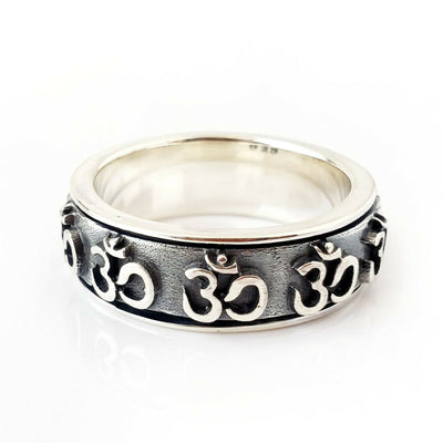 Sz 12 Ohm 925 Sterling Silver Fidget Spinner Ring Yoga Meditation Gift for Dad