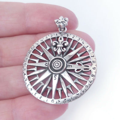 Compass Rose Charm .925 Solid Sterling Silver Pendant Nautical Ocean Boat Gift