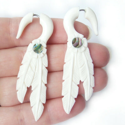 Dreamcatcher Feathers Spllit Gauge Jacket Earrings Southwest Jewelry Gift