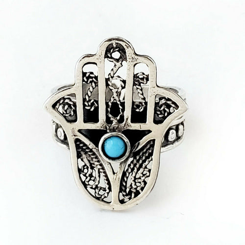 Sz 8-10 Hamsa Ring 925 Sterling Silver Hand of Fatima Khamsa Protection Gift