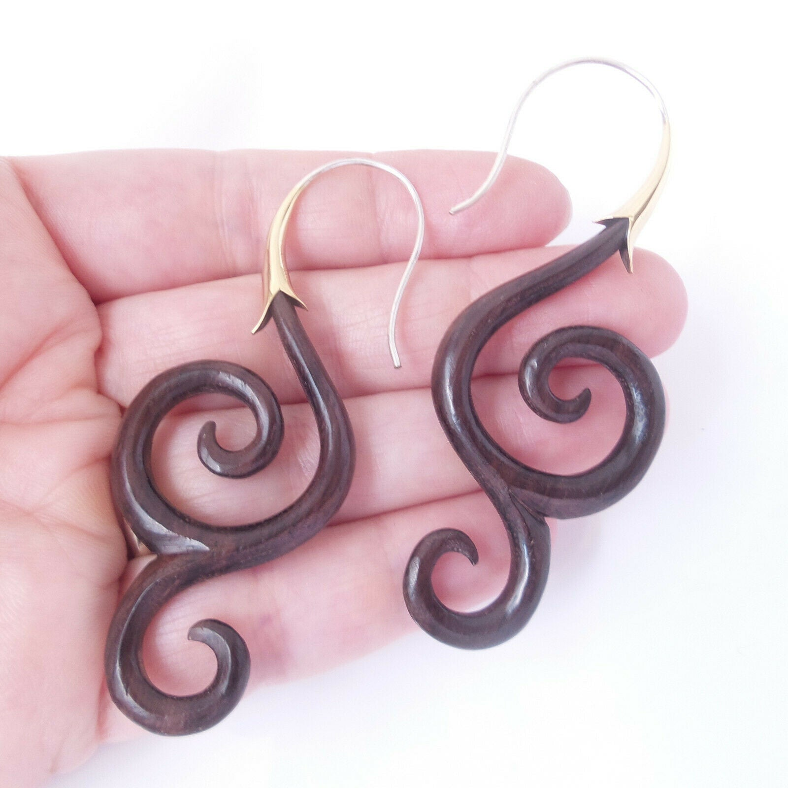 Carved Wood Spiral Drop Earrings 925 Sterling Silver Hook Boho Chic Jewelry Gift