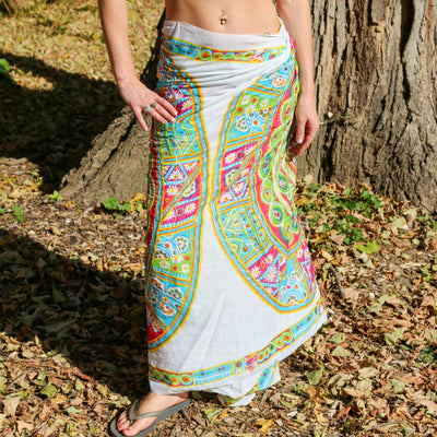 Mandala Metallic Embroidered Cotton Sarong Boho Beach Wrap Gypsy Bikini Cover