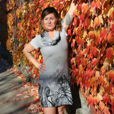 Forest of Trees Cowl Neck Tunic Sweater Dress by LA Soul