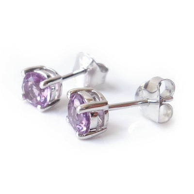 5mm Amethyst Gemstone 925 Sterling Silver Stud Earrings February Birthstone Gift