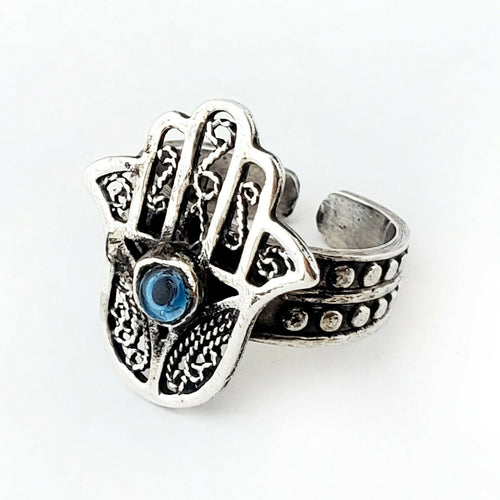 Sz 8-10 Hamsa Ring 925 Sterling Silver Hand of Fatima Protection Khamsa Gift