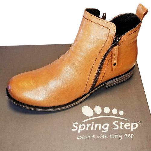 Camel Brown Leather Fall Bootie by Spring Step