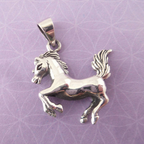 Horse Charm .925 Solid Sterling Silver 3D Pendant Gift for Equestrian Lover