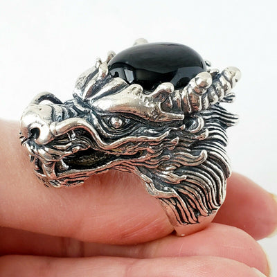 Sz 13 Onyx Dragon .925 Solid Sterling Silver Mens Gemstone Ring Fathers Day Gift