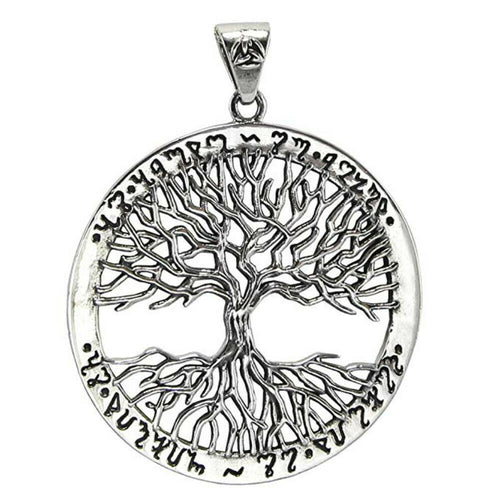 Yggdrasil Tree of Life .925 Sterling Silver Pendant Celtic Pagan Rune Amulet