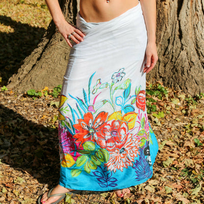 Floral Pareo Sarong Metallic Embroidered Boho Beach Wrap Gypsy Bikini Cover Up