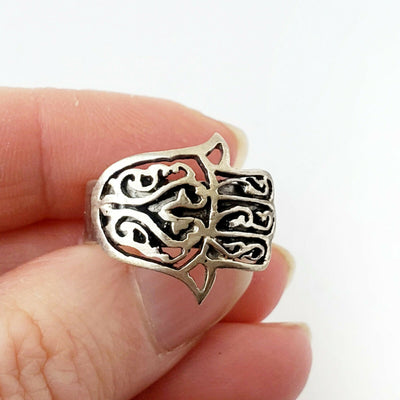 Sz 8-10 Hamsa Ring Solid 925 Sterling Silver Hand Fatima Good Luck Charm Khamsa