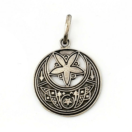 Moon and Star Solid .925 Sterling Silver Celestial Pendant Islamic Art Jewelry