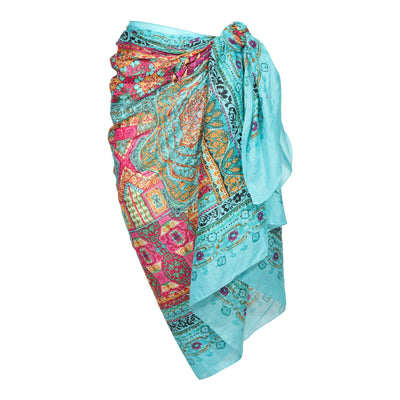 Teal Metallic Embroidered Cotton Sarong Boho Beach Wrap Gypsy Swimsuit Cover Up