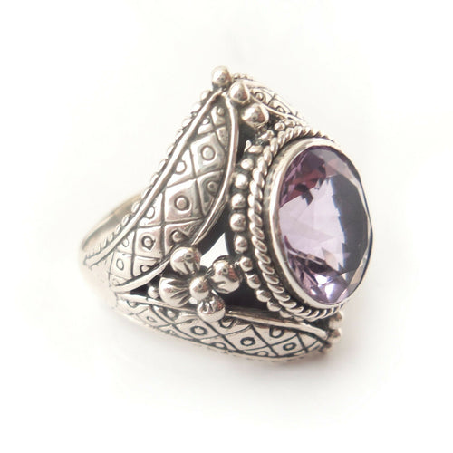 Sz 9 Amethyst 925 Solid Sterling Silver Ring for Royal Queen Renaissance Costume
