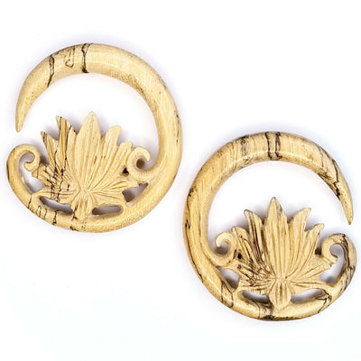 Lotius Real Gauge Earrings Carved Wood Earrings for Stretched Ears Size 2 6mm