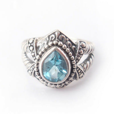 Sz 7 Blue Topaz 925 Solid Sterling Silver Bali Ring for Christmas Gift Jewelry