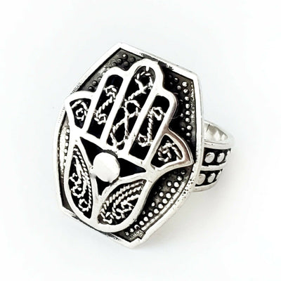 Sz 8-10 Hamsa Ring 925 Sterling Silver Hand of Fatima Khamsa Mothers Day Gift