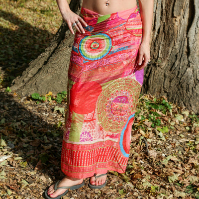 Bright Beach Wrap Metallic Embroidered Sarong Boho Gypsy Pareo Bikini CoverUp