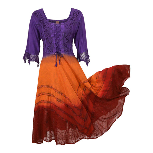 Purple Orange Red Embroidered Renaissance Festival Dress Flowy Rayon Party Gown
