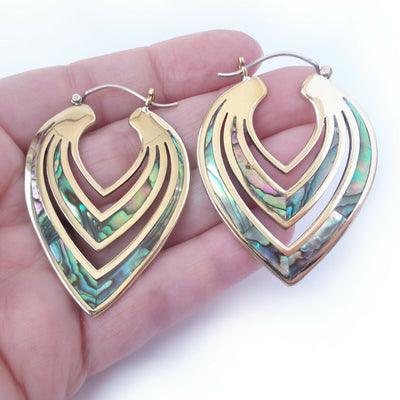 Carved Abalone Shell Hoop Earrings .925 Sterling Silver Hook Boho Gift for Yogi