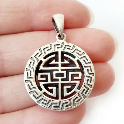 Double Sided Ohm Greek Key .925 Sterling Silver Pendant Meditation Amulet Charm
