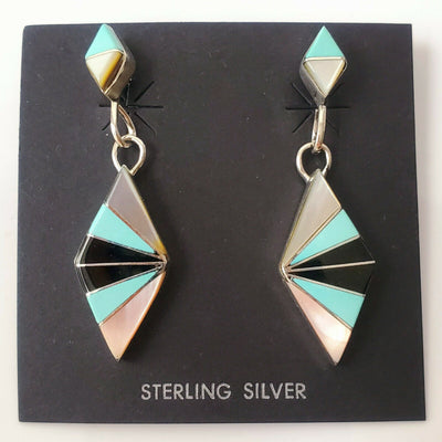 Zuni Native American Turquoise 925 Solid Sterling Silver Geometric Drop Earrings