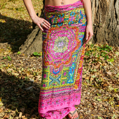 Geometric Beach Wrap Metallic Embroidered Sarong Boho Gypsy Pareo Bikini CoverUp