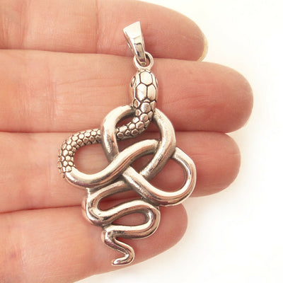 Infinity Knot Serpent 925 Solid Sterling Silver Pendant Snake Charm Gift for Dad