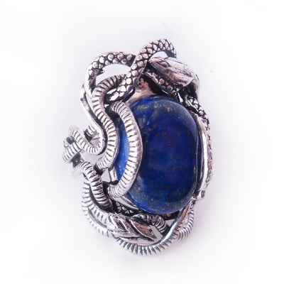 Lapis Lazuli Snake Ring Sz 10 .925 Solid Sterling Silver Medusa Gothic Statement
