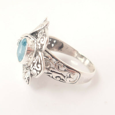 Dragonfly Ring Sz 7.5 Blue Topaz .925 Solid Sterling Silver Bali Christmas Gift