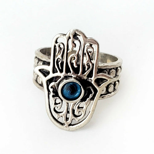 Sz 8-10 Hamsa Ring 925 Sterling Silver Hand of Fatima Luck Charm Khamsa Gift