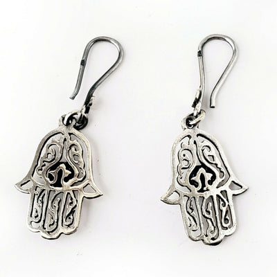 Hamsa Protection Charm 925 Sterling Silver Earrings Evil Eye Luck Hand of Fatima