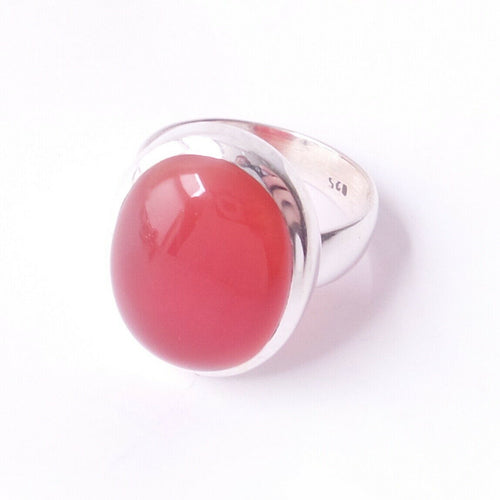 Size 10 Carnelian .925 Solid Sterling Silver Ring Orange Gemstone Jewelry Gift
