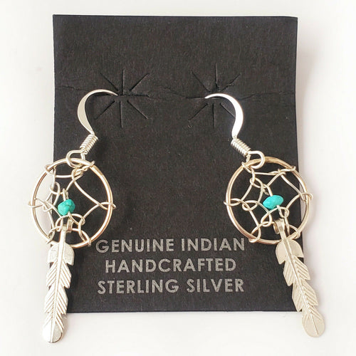 Zuni Native American Turquoise .925 Solid Sterling Silver Dreamcatcher Earrings