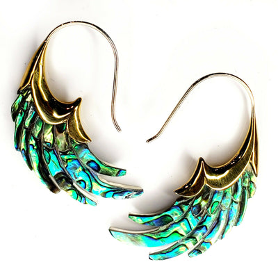 Wings Carved Abalone Shell Earrings .925 Sterling Silver Hook Boho Xmas Gift