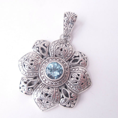 Blue Topaz Gemstone Pendant 925 Solid Sterling Silver Floral December Birthstone