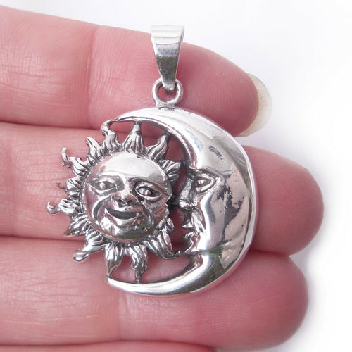 Sun Moon Amulet .925 Solid Sterling Silver Charm Celestial Pendant Jewelry Gift