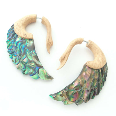 Swans Fake Gauge Earrings w/ Abalone Shell Split Plug Beach Surfer Jewelry Gift