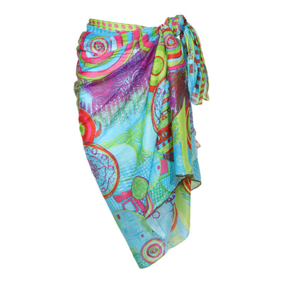 Light Cotton Sarong Metallic Embroidered Boho Beach Wrap Gypsy Bikini Cover Up