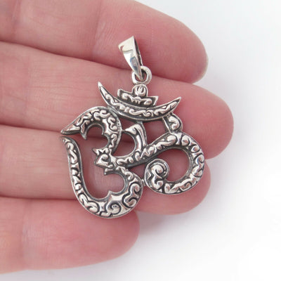Ohm Charm .925 Solid Sterling Silver Pendant Meditation Gift for Yogi Buddhist