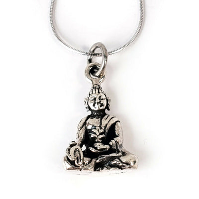 Buddha .925 Solid Sterling Silver Necklace Buddhist Pendant Meditation Charm