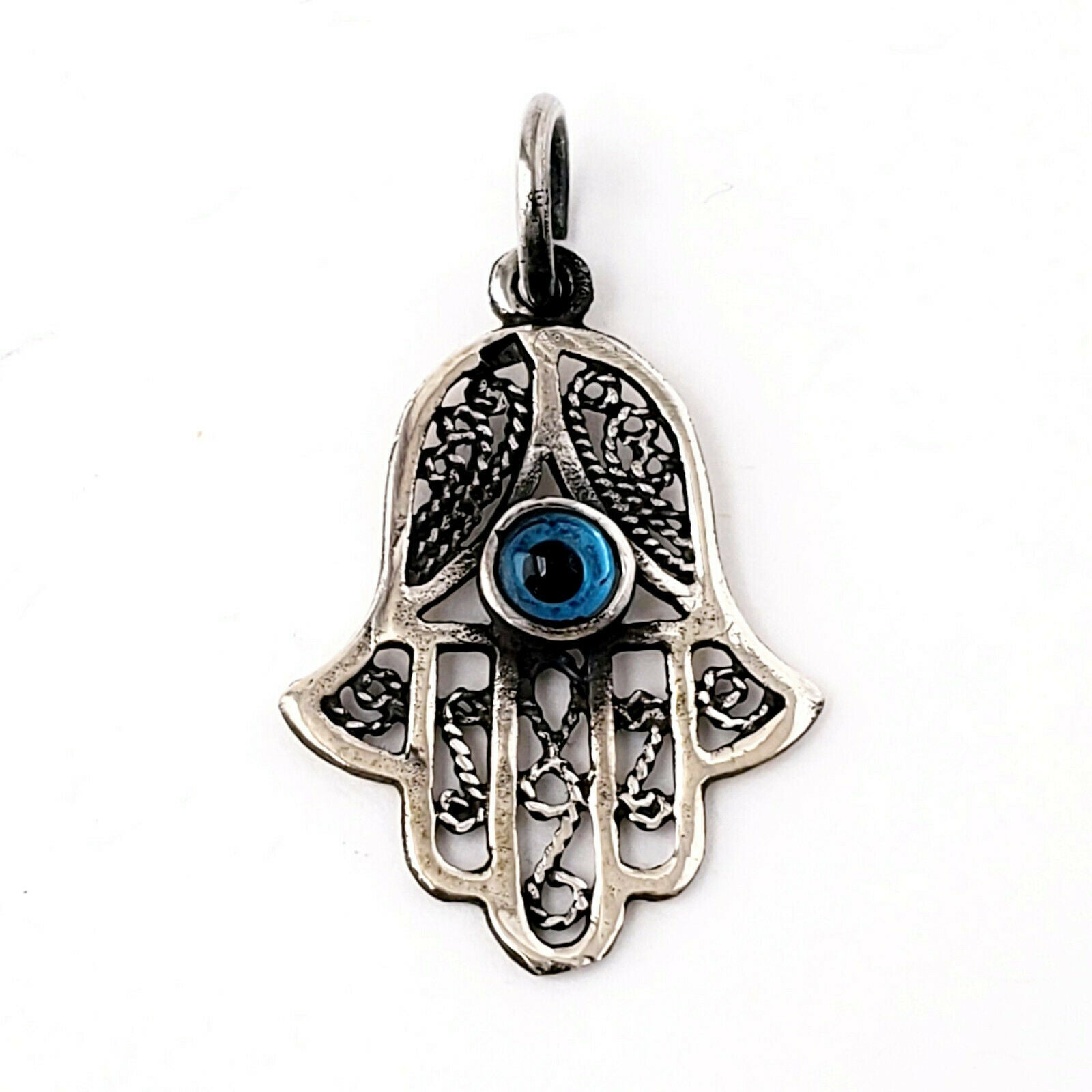 Hamsa Protection Charm 925 Sterling Silver Pendant Evil Eye Luck Hand of Fatima